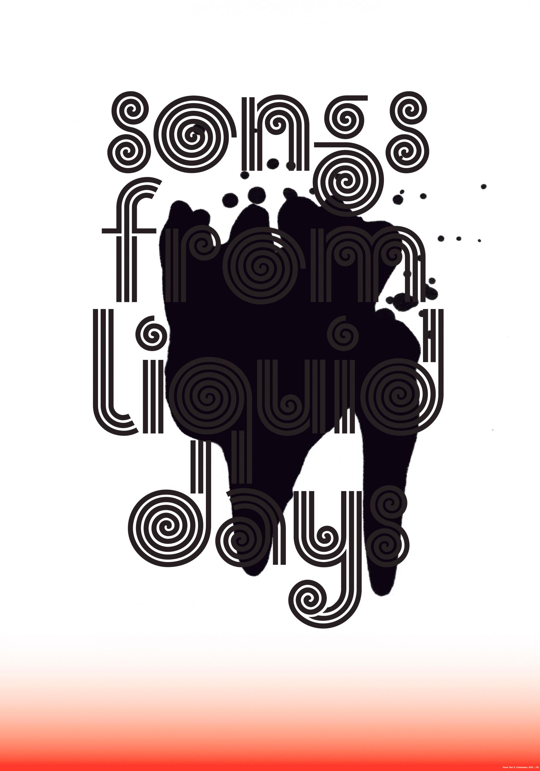 Affiche crée en collaboration avec Pierre Vadi pour l'exposition «A House That Moves», à Fri-Art, Fribourg. La police du titre a été digitalisée d'après une vieille pochette de disque trouvée aux puces.