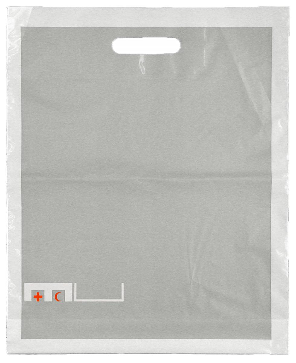 Sac en plastique du Musée de la Croix-Rouge et du Croissant-Rouge, élément de l'identité visuelle développée dans le cadre de mes études à l'ECAL. En collaboration avec Gilles & Vincent Turin.