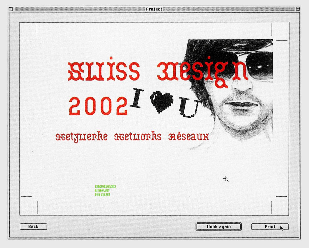 Générateur de flyers et affichettes pour Mac OS 9 dont les options de composition sont ironiques. Prix fédéral des arts appliqués 2002. Images tirée du catalogue «Swiss Design 2002». Dans le cadre de Schönwehrs.