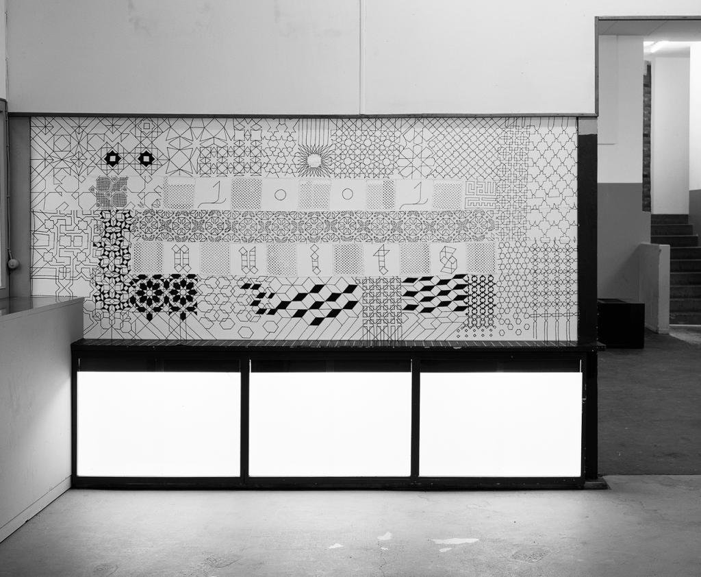 «1001 Nuits», patchwork/broderie réalisée en collaboration avec Zorro&Bernardo pour l'exposition «Le Rayon Noir» à Circuit, espace d'art contemporain, Lausanne, dans le cadre du festival Les Urbaines.