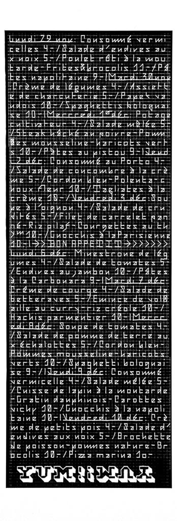 Menu de la cafétéria de l'ECAL, dont le graphisme était confié aux étudiant·e·s. Réalisé avec un lettrage modulaire.