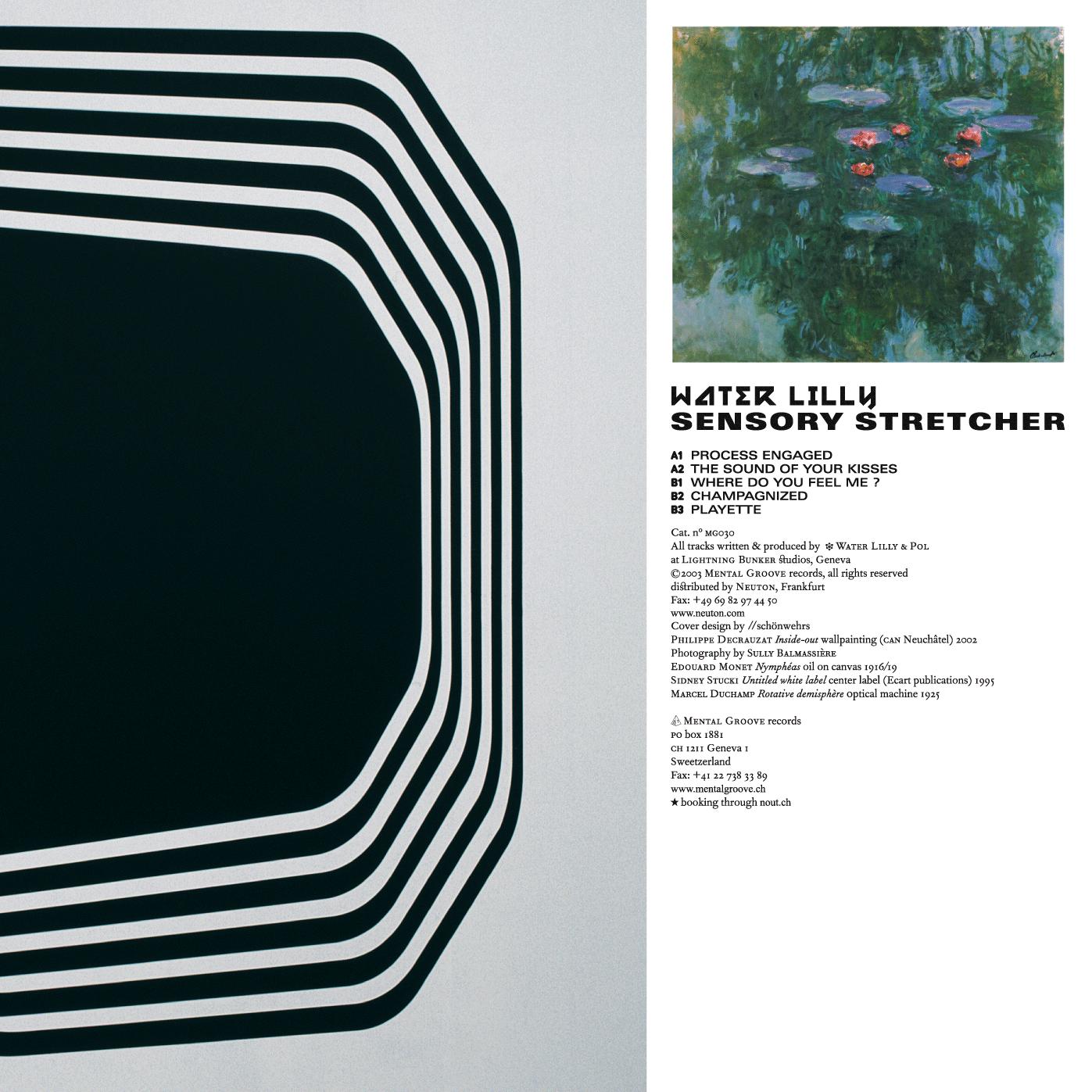 Couverture d'un EP de Water Lilly. L'image de gauche, qui s'étend sur le verso, est une peinture murale de Philippe Decrauzat. En tant que Schönwehrs.