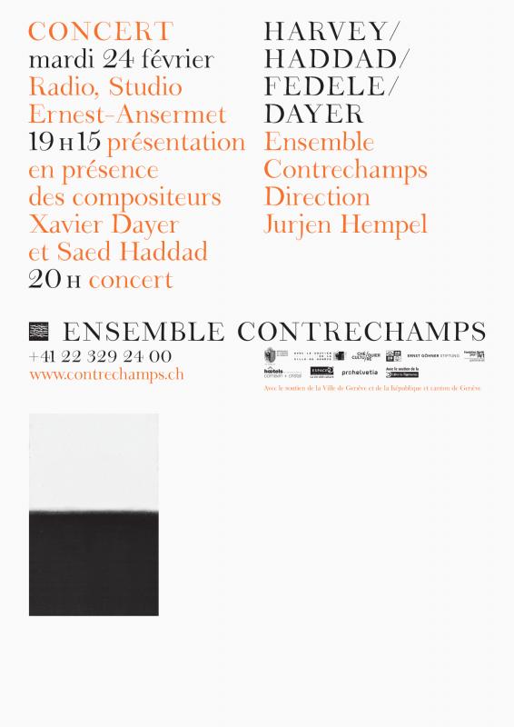 Affiche pour l'Ensemble Contrechamps avec l'identité visuelle que nous avons développée, dont la police de caractères (en collaboration avec Ann Griffin).