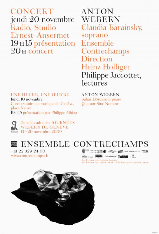 Affiche pour l'Ensemble Contrechamps avec l'identité visuelle que nous avons développée, dont la police de caractères (en collaboration avec Ann Griffin). Illustration: Agathe Nicolas. En tant que Schönherwehrs.
