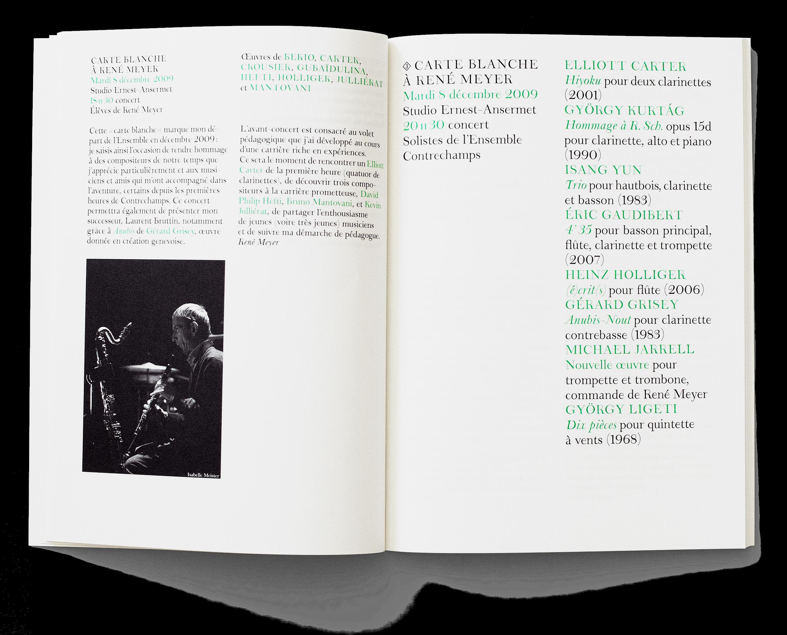 Programme de saison, toujours avec l'identité visuelle développée pour l'Ensemble en 2008, dont le dessin d'une police de caractère (droit et italique). En tant que Schönherwehrs.