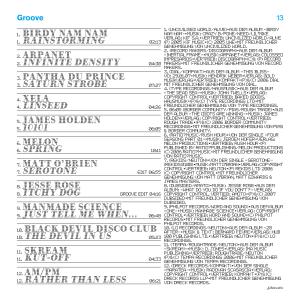 Pochette d'un CD sampler inséré dans le magazine Groove (Allemagne). J'avais dessiné la police de caractères des titres pour l'identité d'une exposition sur le cerveau et la vision. En tant que Schönwehrs.