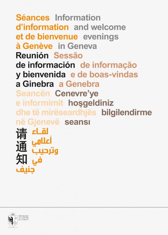 Dépliant en 8 langues qui invite les étrangers à une séance de bienvenue/information. La mise en page en arabe et chinois était intéressante à faire. En tant que Schönherwehrs.