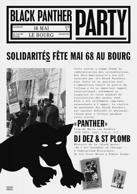 Flyer pour une soirée en hommage au Black Panther Party (recto). Mise en page inspirée du bulletin du mouvement.
