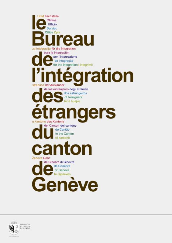 Flyer de présentation du Bureau de l'intégration, Genève. L'utilisation de l'Arial était contrainte par le Canton.