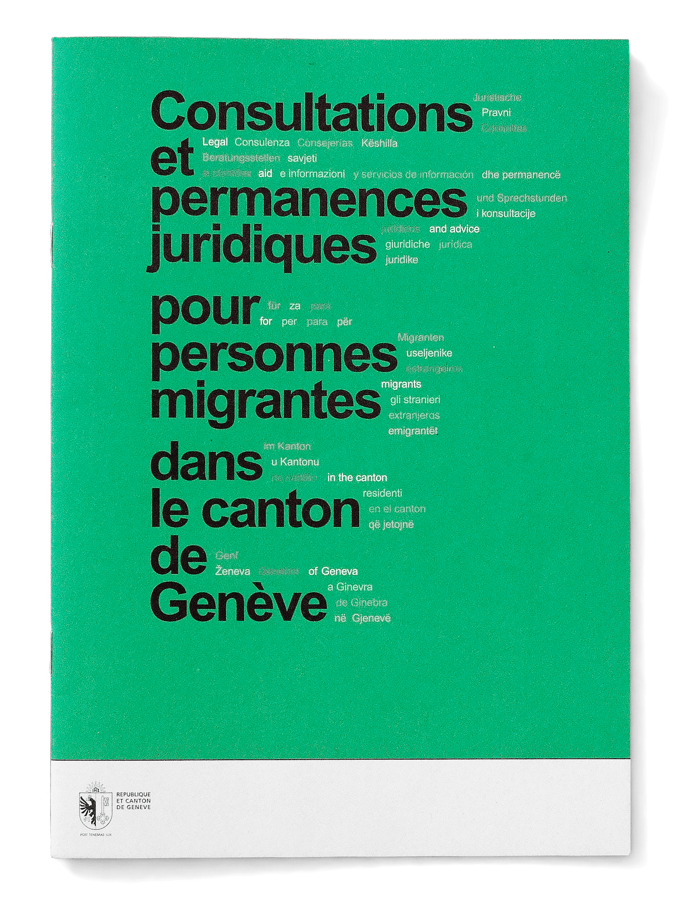 Brochure qui recense les consultations d'aide juridique du canton.