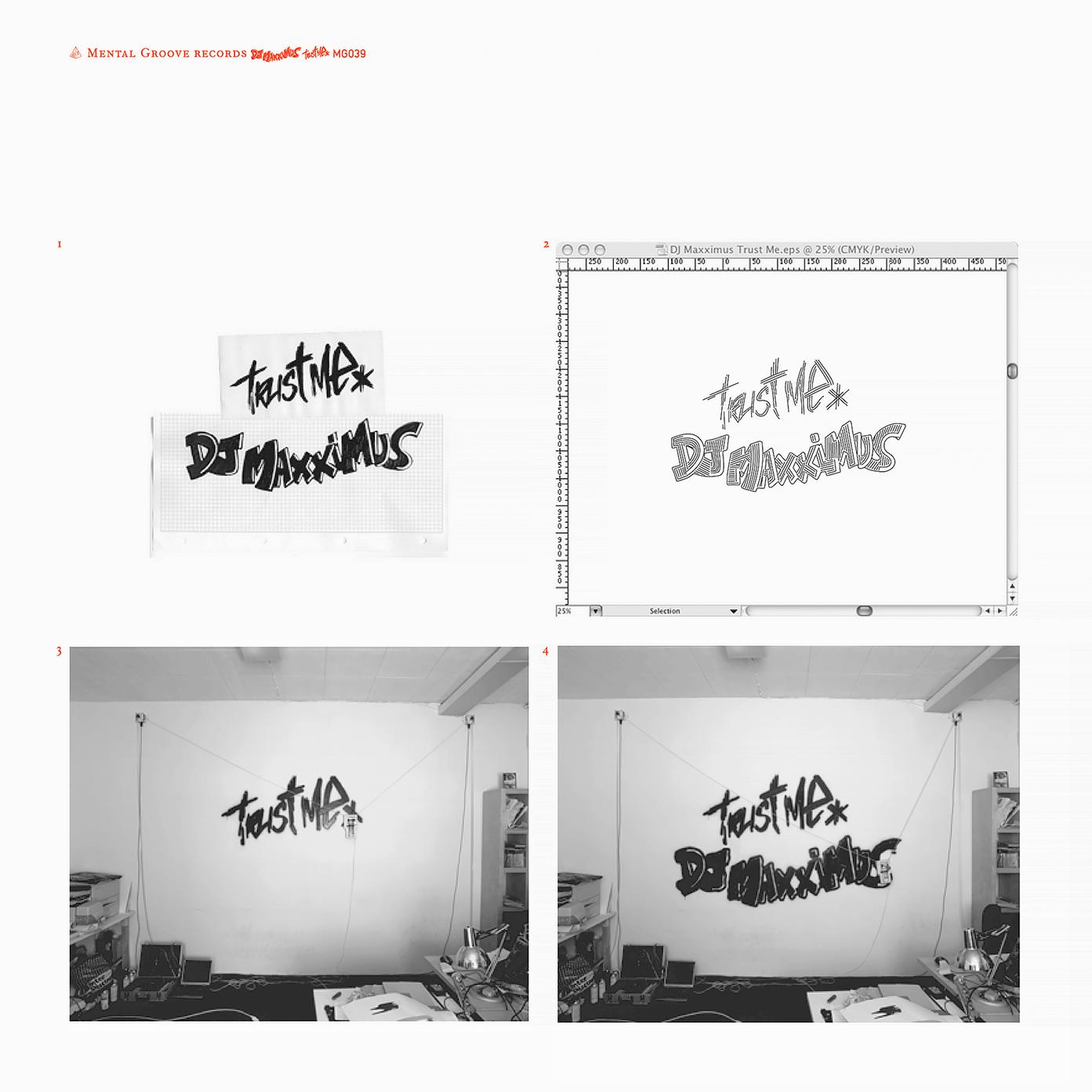 Pochette du EP «Trust Me» de DJ Maxximus (Mental Groove, Genève, 2004). Les images montrent le processus de la machine à graffiti Hektor de Jürg Lehni.