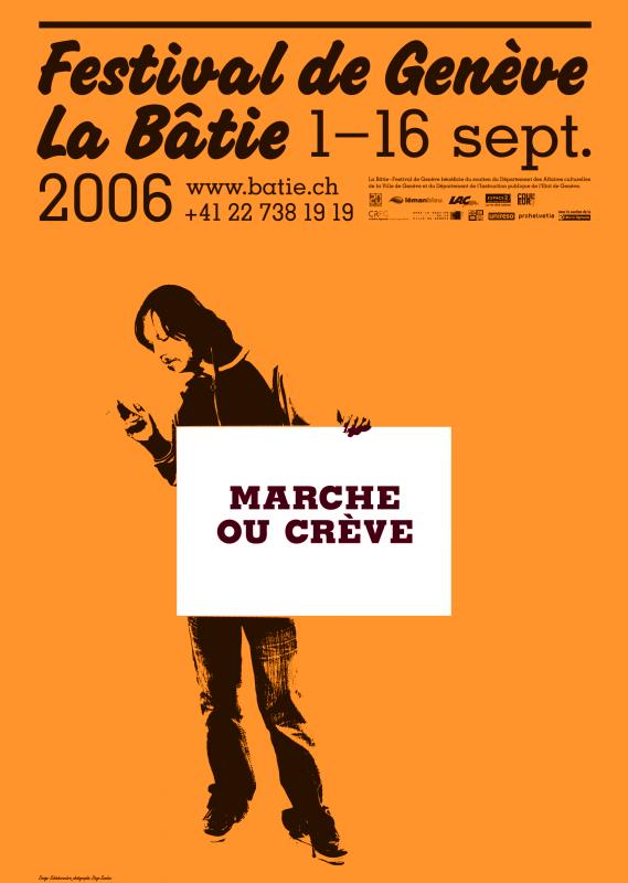 L'une des nombreuses variantes d'affiches pour le festival de la Bâtie 2006. En tant que Schönherwehrs.