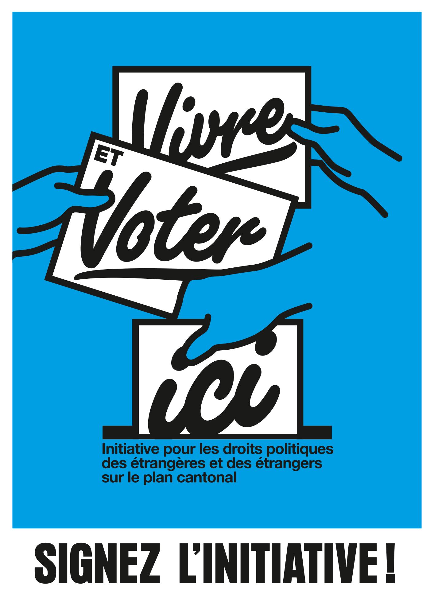 Logo et affiche pour une initiative cantonale pour le droit de vote des étrangers·ères au niveau cantonal (Vaud).