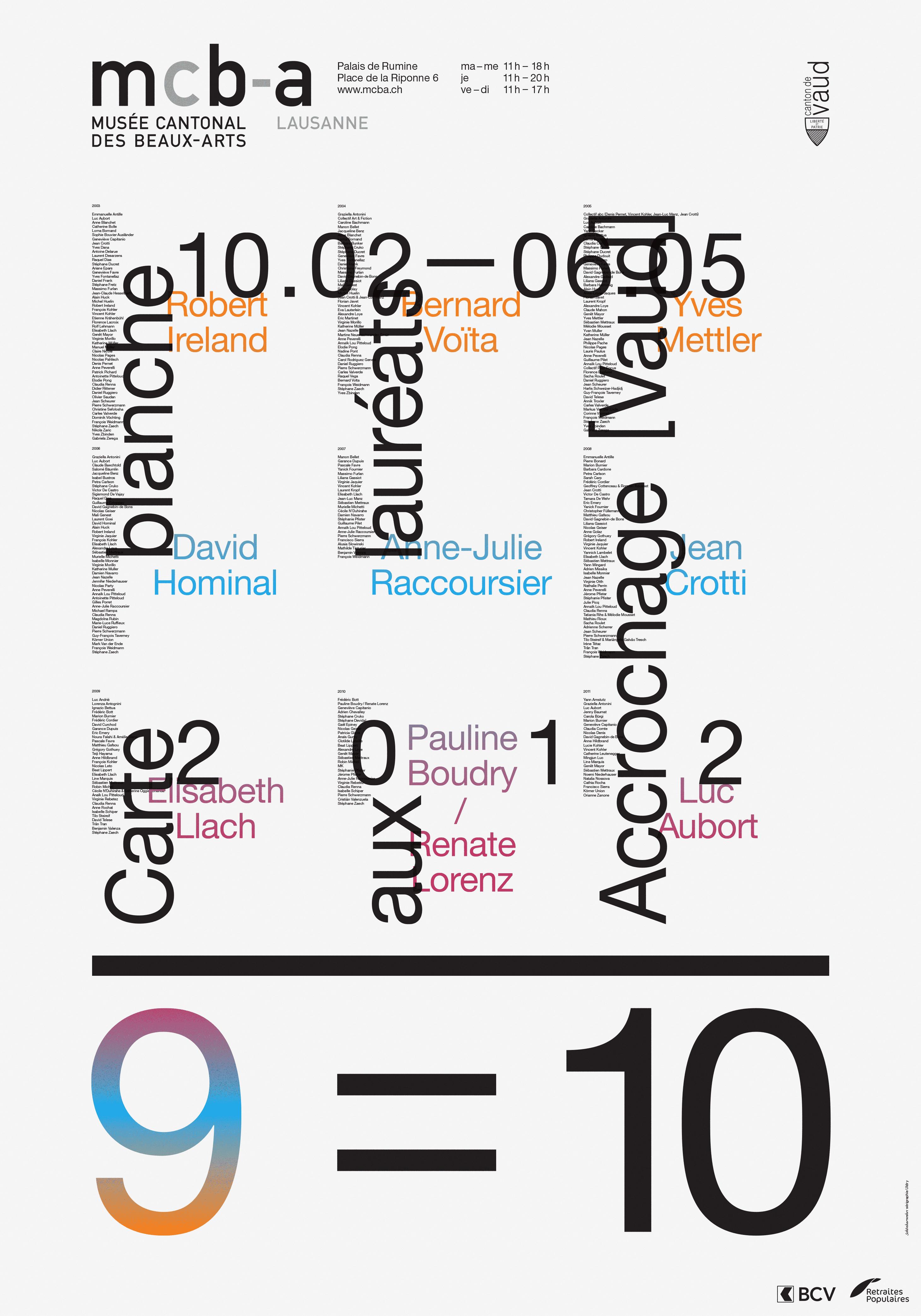 Affiche de l'exposition «9=10» au Musée cantonal des Beaux-arts de Lausanne. La composition est une superposition de grilles. La 2e couleur est imprimée en dégradé direct (iris).