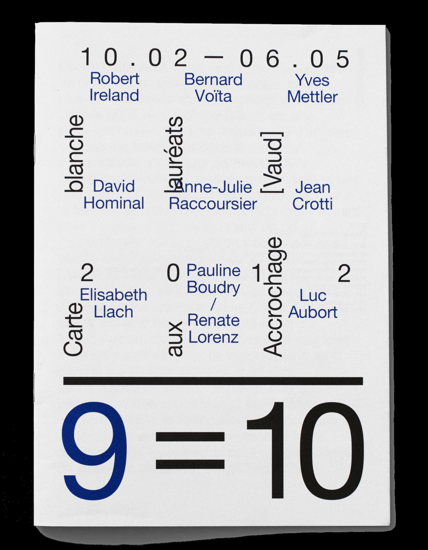 Guide de l'exposition «9=10» au Musée cantonal des Beaux-arts de Lausanne.