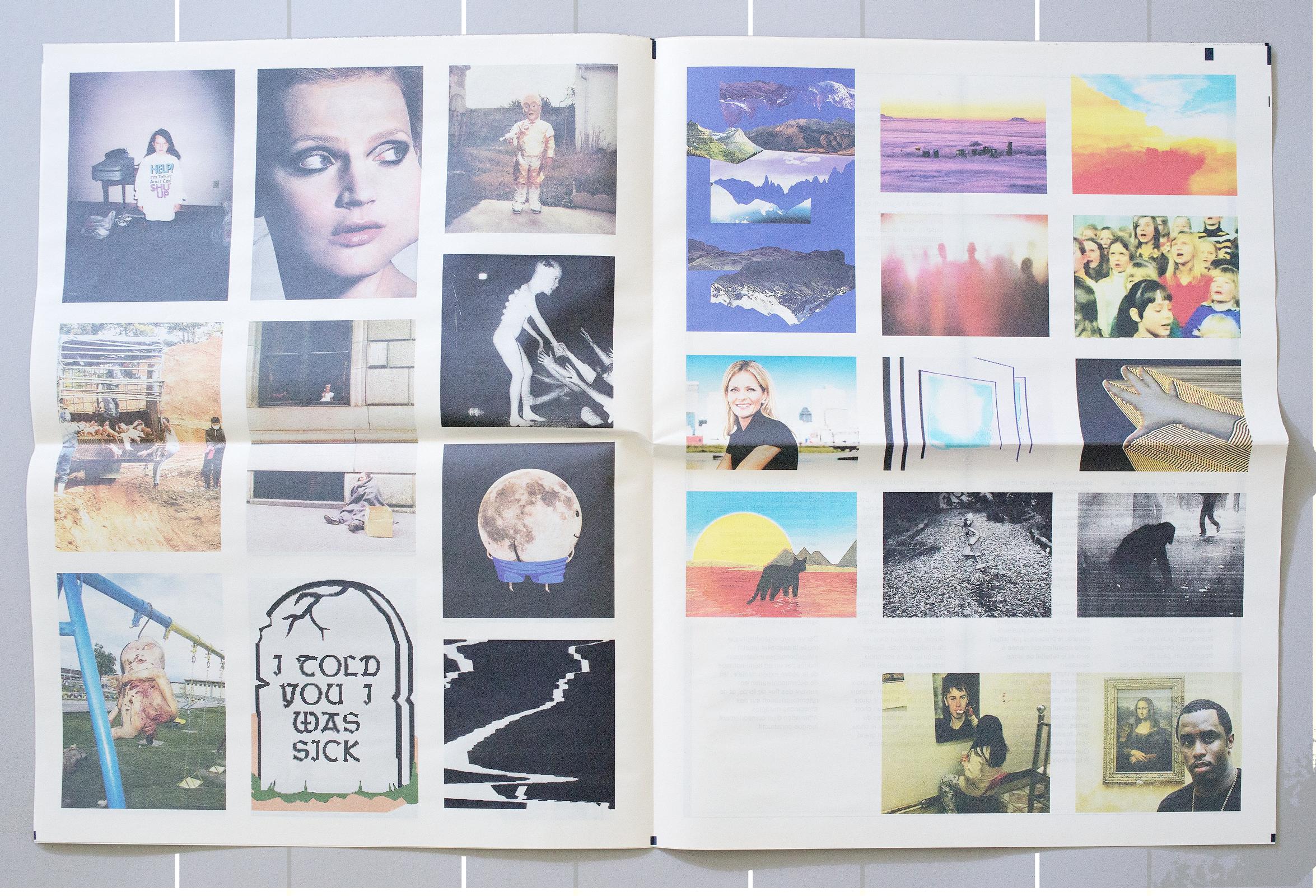 Double page de ma contribution au journal publié à l'occasion de l'exposition «A Cup Ful Skul» organisée par Fluck|Paulus à l'Institut suisse de Milan. Suite d'images trouvées.