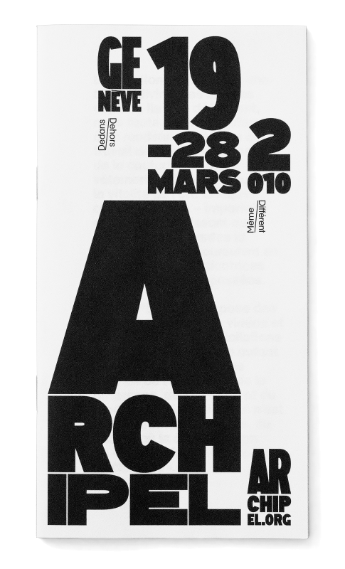 Programme du festival. La mise en page est basée sur une grille fractale et le lettrage s'adapte aux cases. En tant que Schönherwehrs.