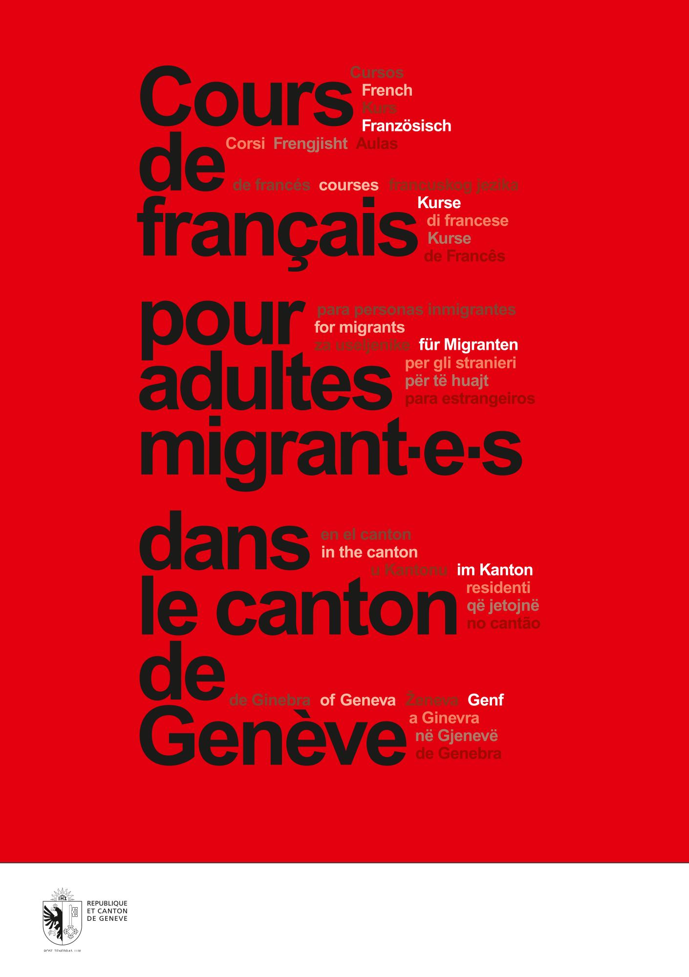 Brochure qui recense les cours de français canton de Genève.