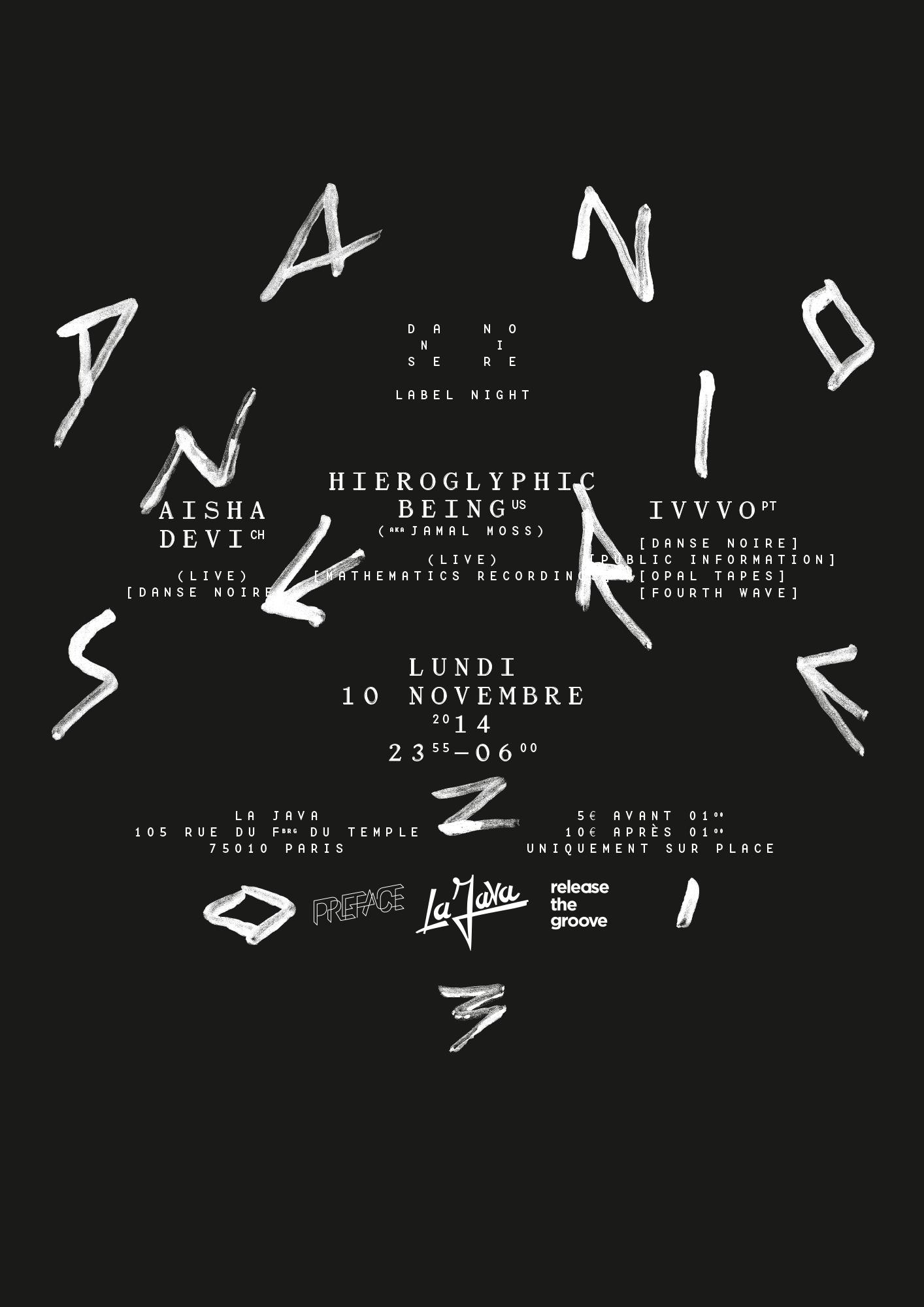 Affiche de la soirée Danse Noire à la Java, Paris