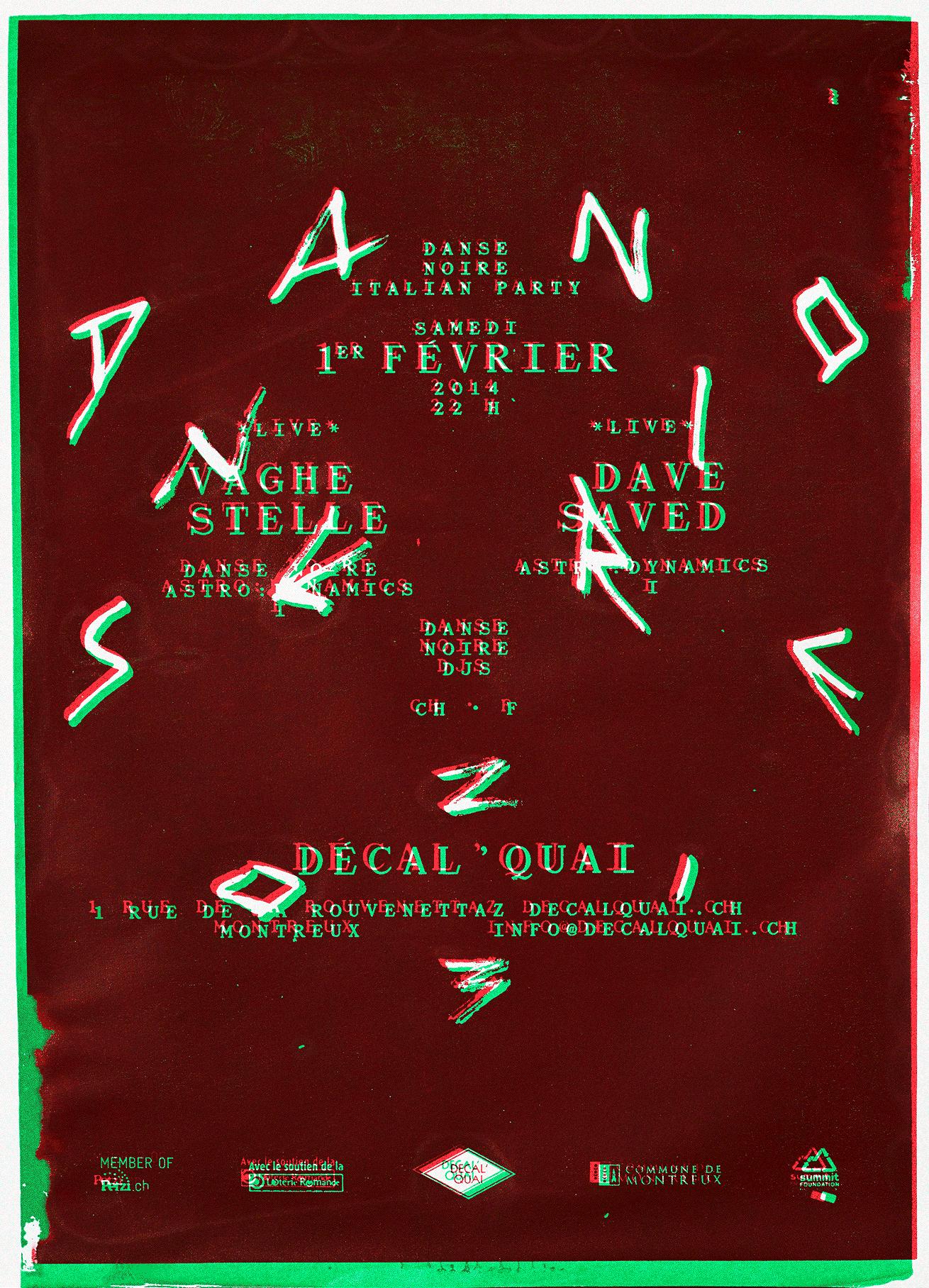 Affiche pour une soirée Danse Noire. 2 couches identiques sont imprimées avec un décalage.