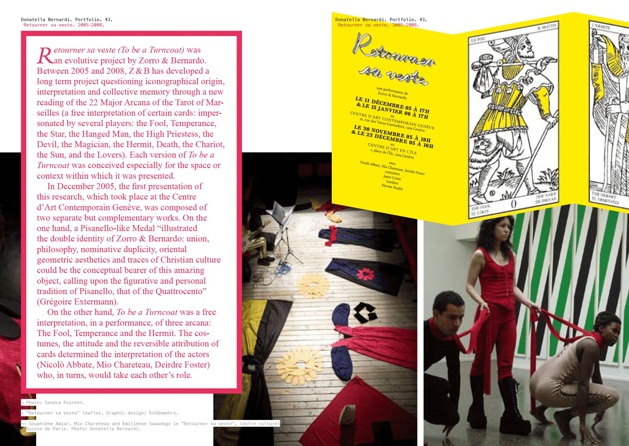 Portfolio de l'artiste/curatrice Donatella Bernardi. En haut à droite, le mini-dépliant réalisé pour l'exposition «Retourner sa veste».