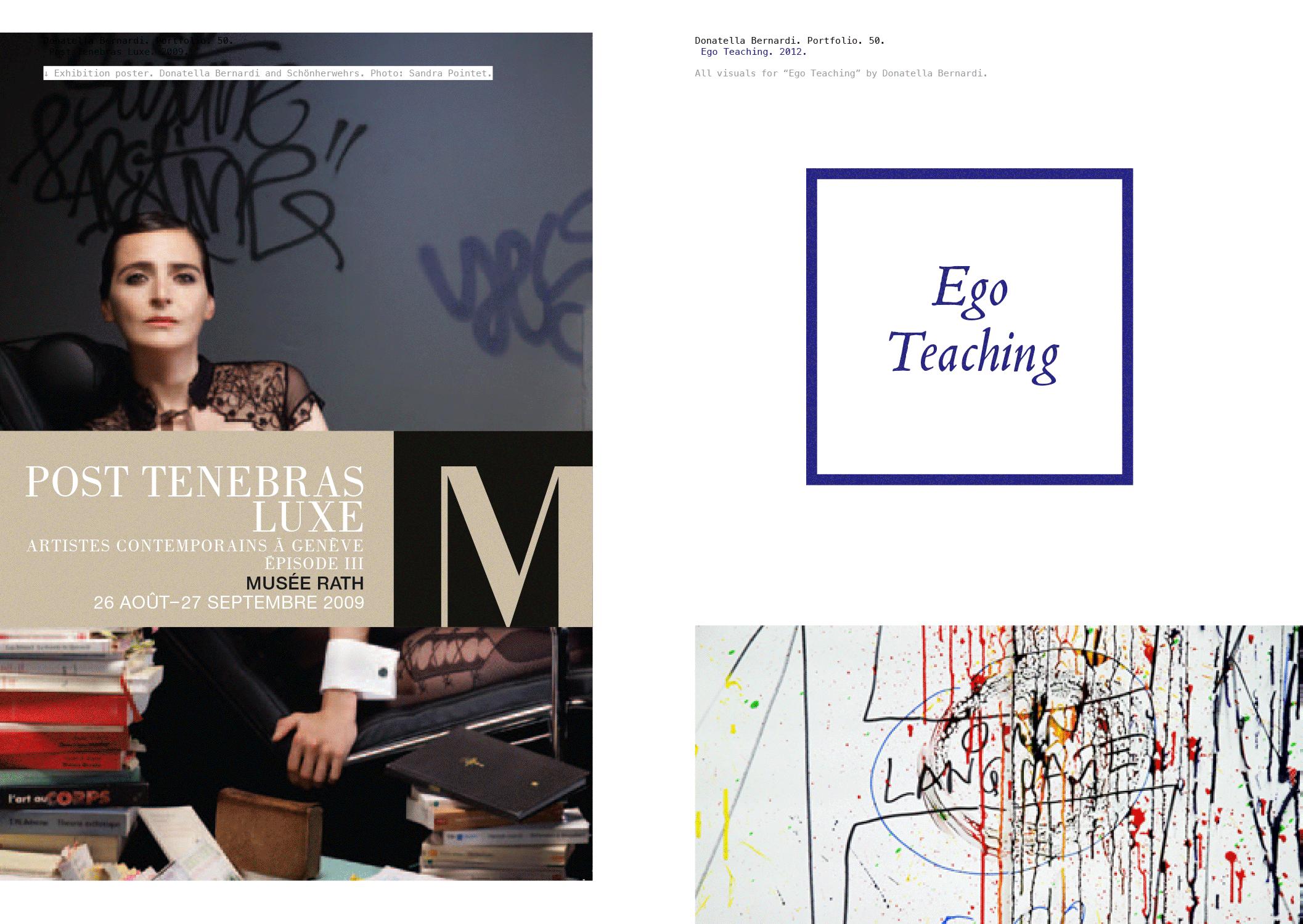 Portfolio de l'artiste/curatrice Donatella Bernardi. Sur la gauche, l'affiche de nous avions réalisé pour l'exposition «Post Tenebras Luxe»