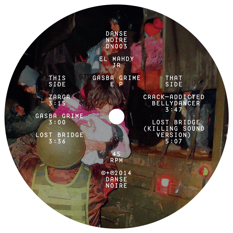 Label du EP de El Mahdy Jr. sur Danse Noire. Photo trouvée de réfugié·e·s Syrien·ne·s