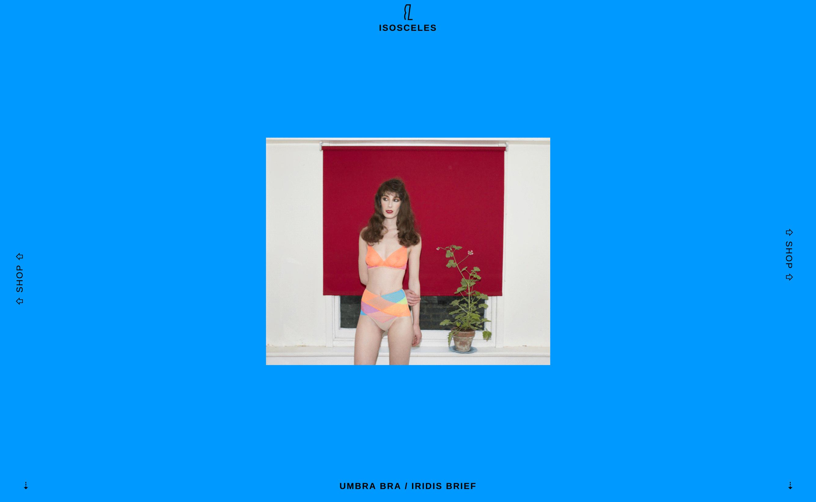 Homepage de la marque de lingerie Isosceles, Londres.