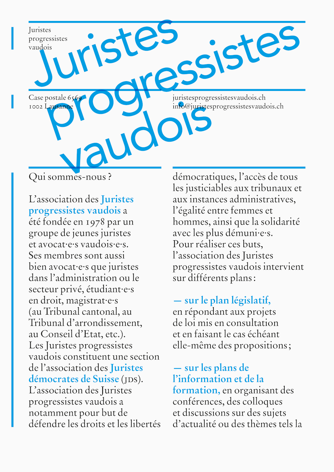 Identité des Juristes progressistes vaudois (plaquette de présentation). En tant que Schönherwehrs.