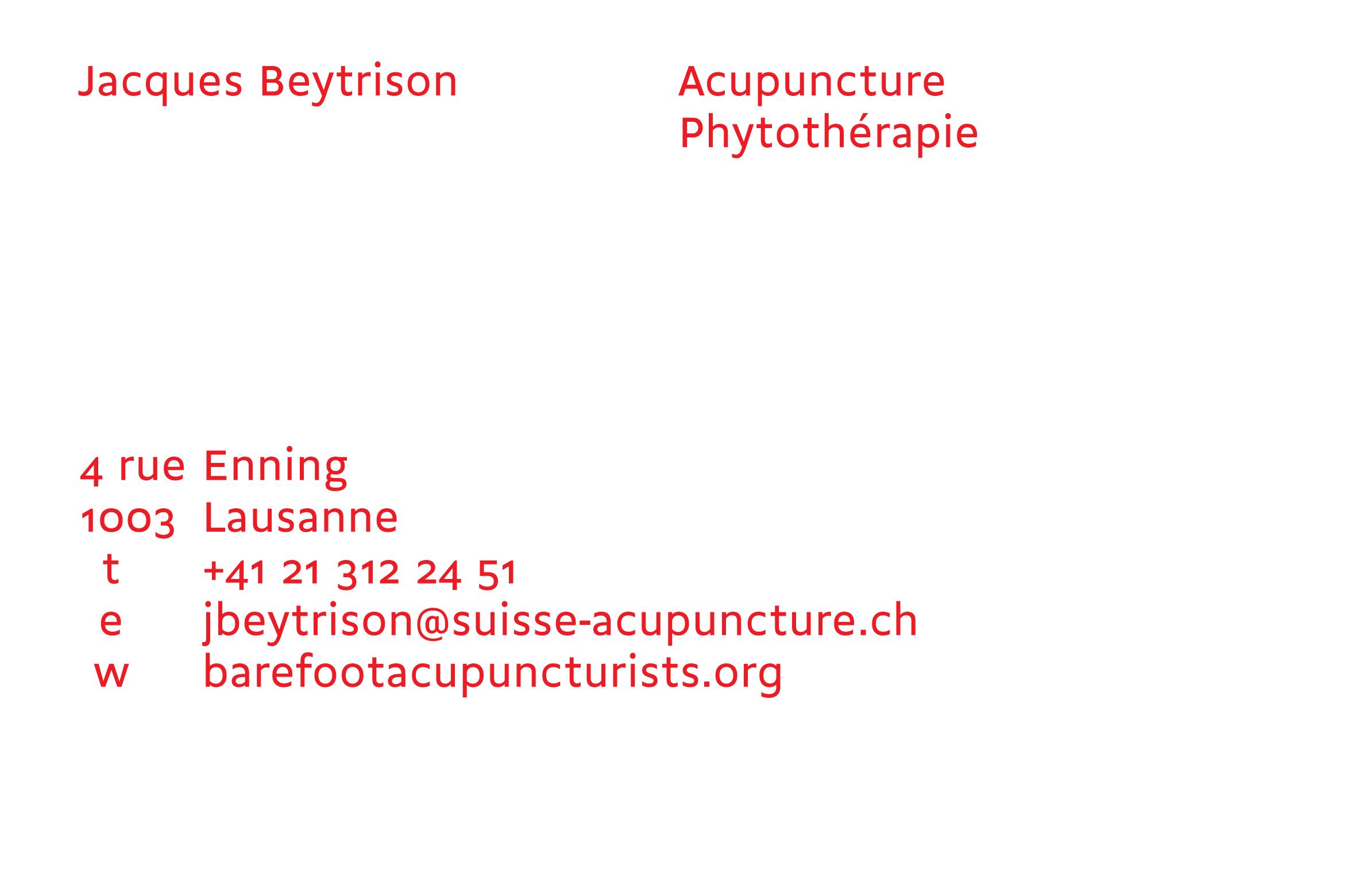 Carte de visite pour l'acupuncteur Jacques Beytrison, le verso permet d'indiquer les rendez-vous sans les écrire