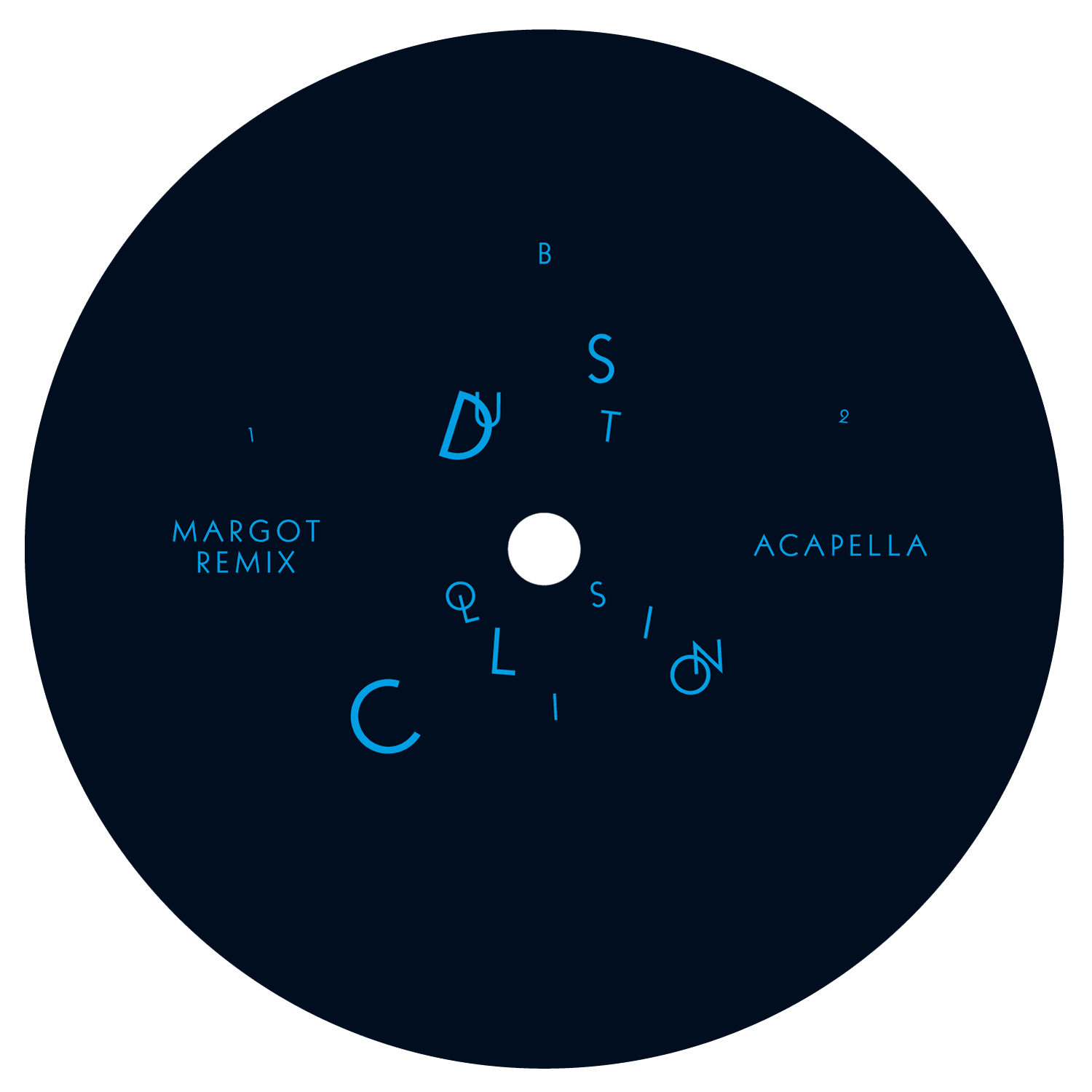 Label du single «Dust Collision» de Kate Wax pour le label Border Community, Londres.