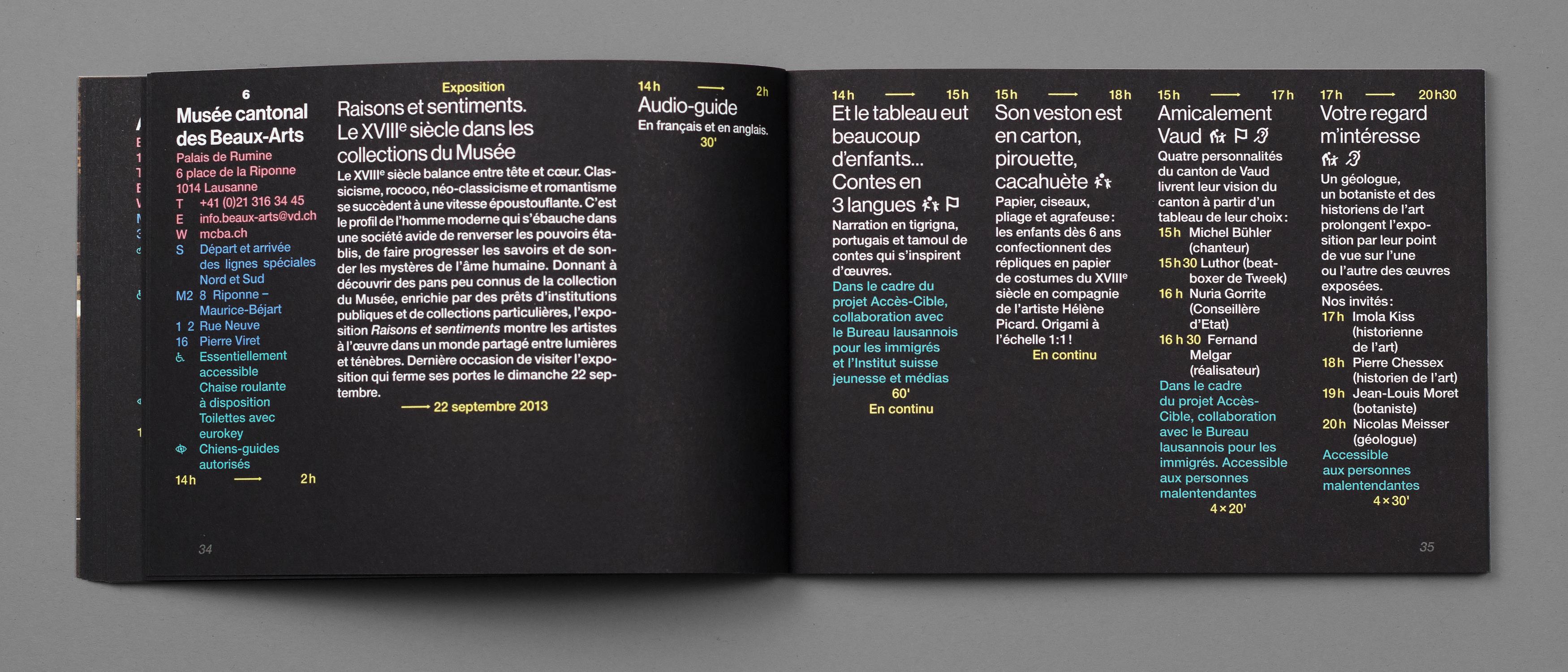 Double-page du programme de la Nuit des musées.
