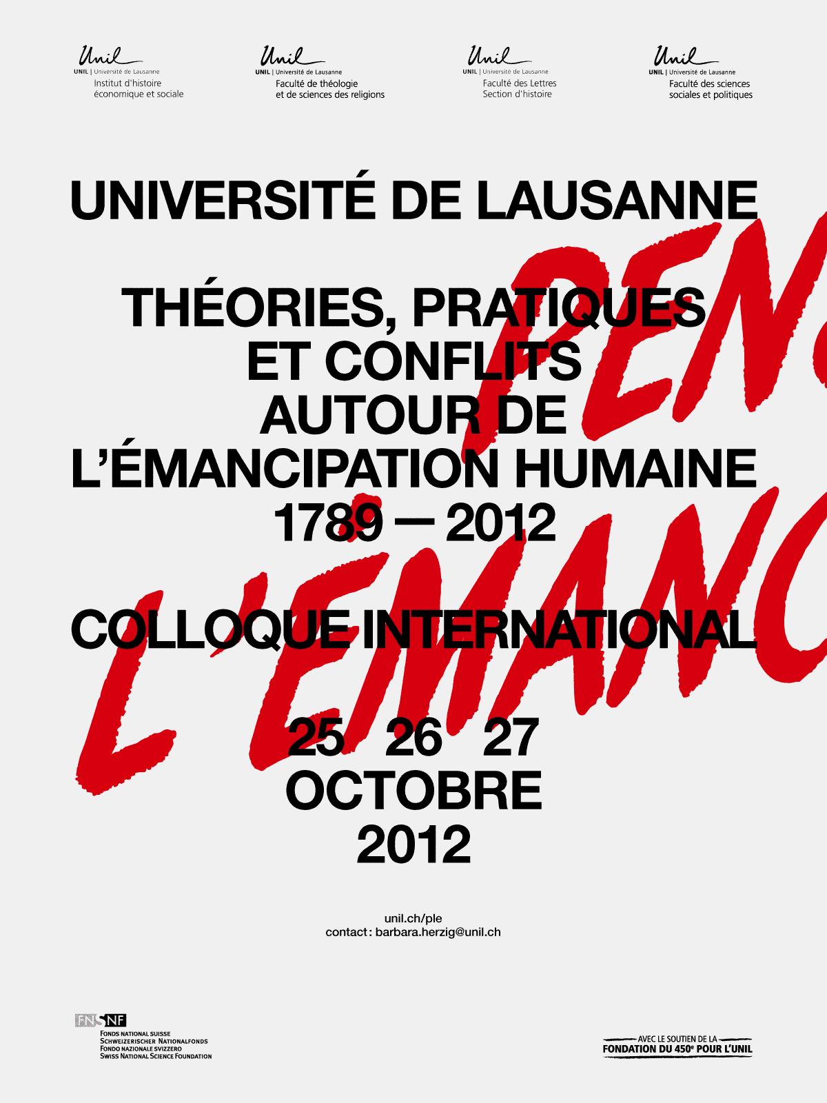 Affiche du colloque «Penser l'émancipation»
