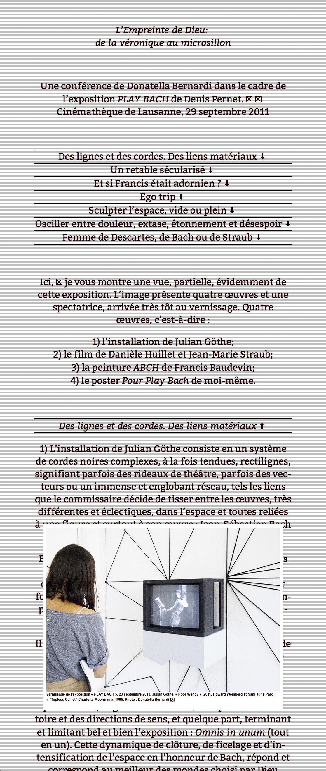 «Édition html» d'une conférence de Donatella Bernardi à l'occasion de l'exposition «Play Bach» organisée par Denis Pernet (détail).