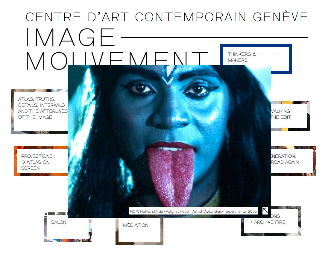 Design du site internet pour la biennale Image—Mouvement. Développement: Pierre-Alain de Preux.