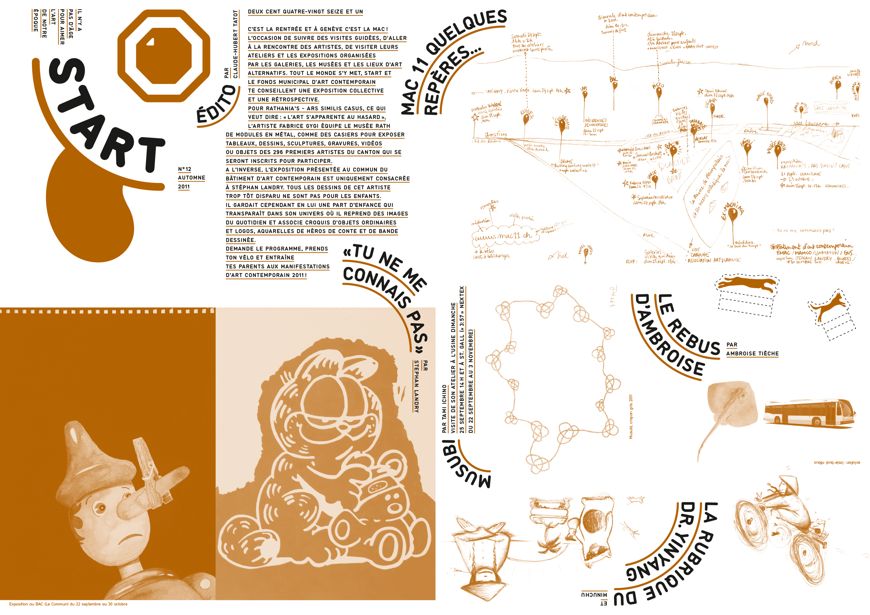 Magazine/dépliant d'art contemporain pour les enfants, édité par Claude-Hubert Tatot et Alexia Turlin, inséré dans le Kunstbulletin (recto)