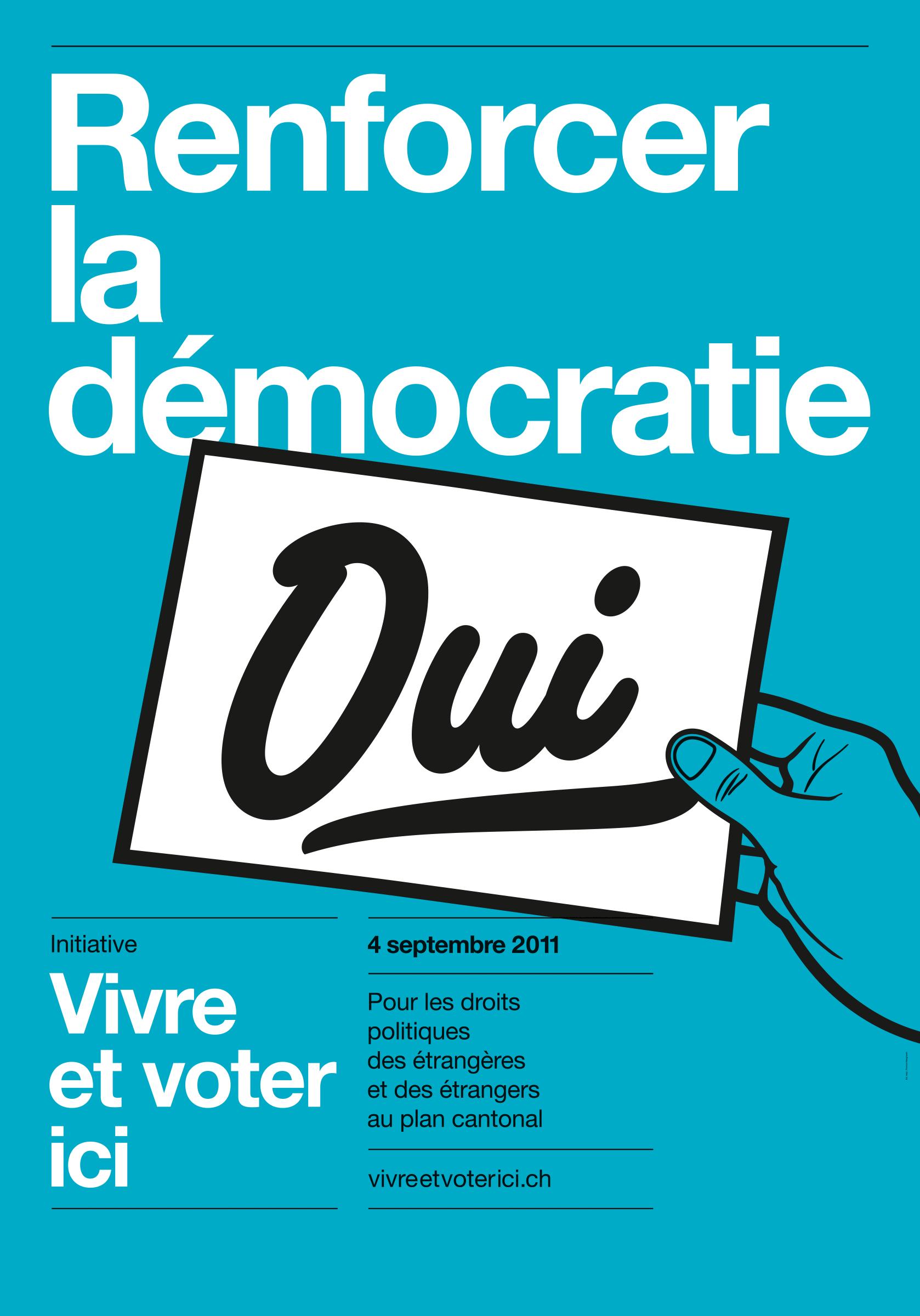 Affiche de votation pour accorder le droit de vote aux étrangers·ères du canton de Vaud.