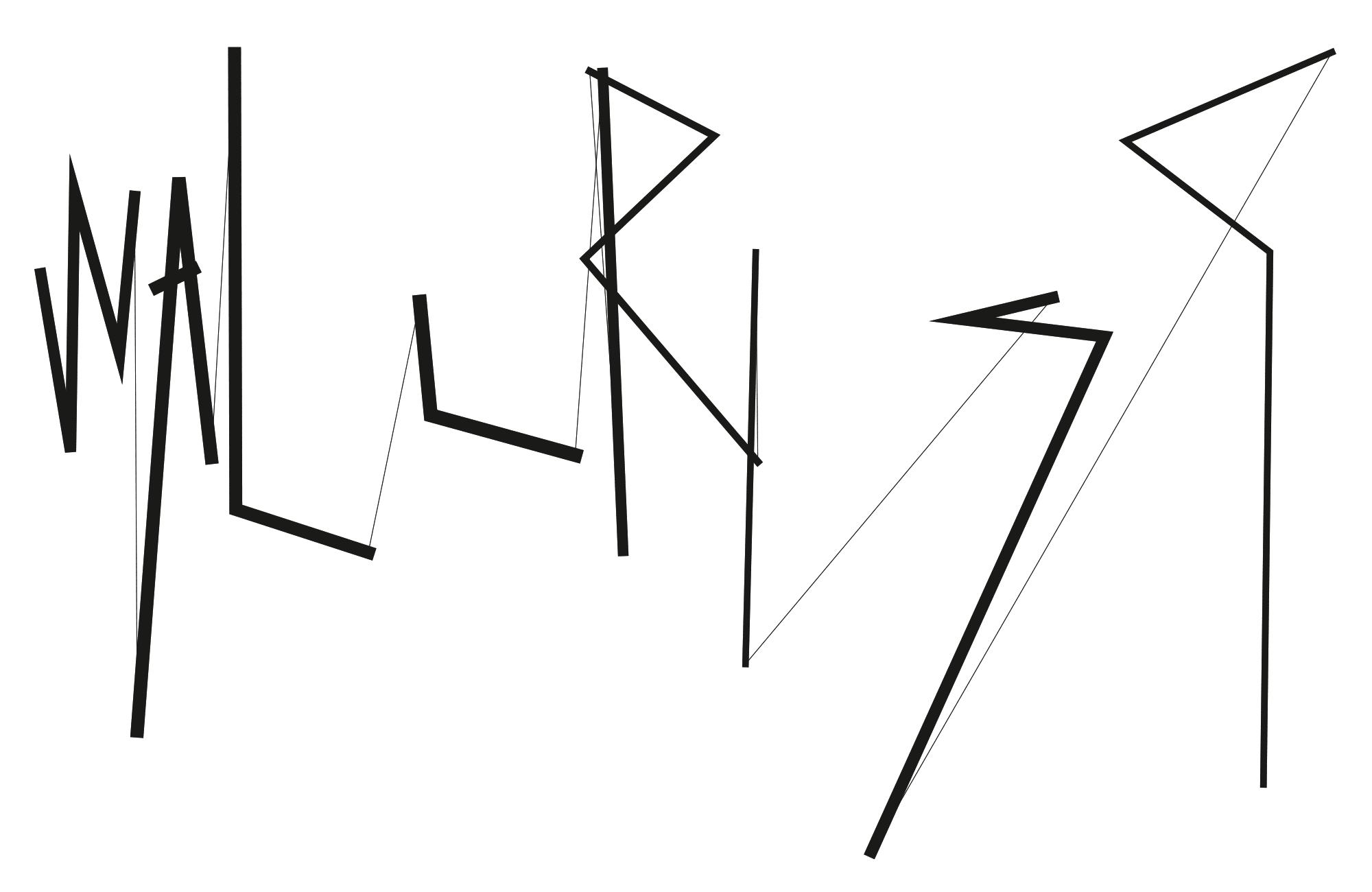 Logotype de l'espace d'art indépendant WallRiss, Fribourg. Le lettrage est généré par un script qui rend tous les supports de communication uniques.