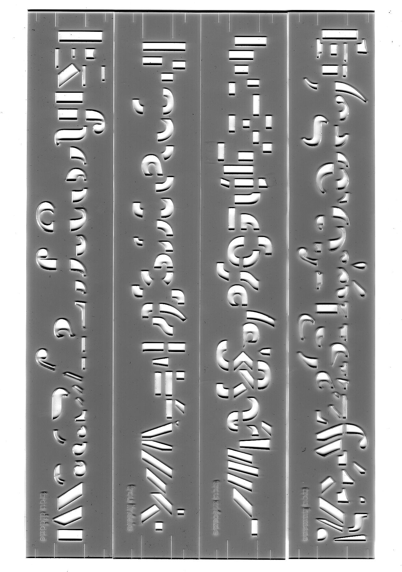 Spécimen typographique crée par les étudiant·e·s lors d'un workshop que j'ai animé à la HEAD (je ne me souviens pas des noms des étudiant·e·s – écrivez-moi pour être crédités). Chablon permettant de tracer un alphabet complet.