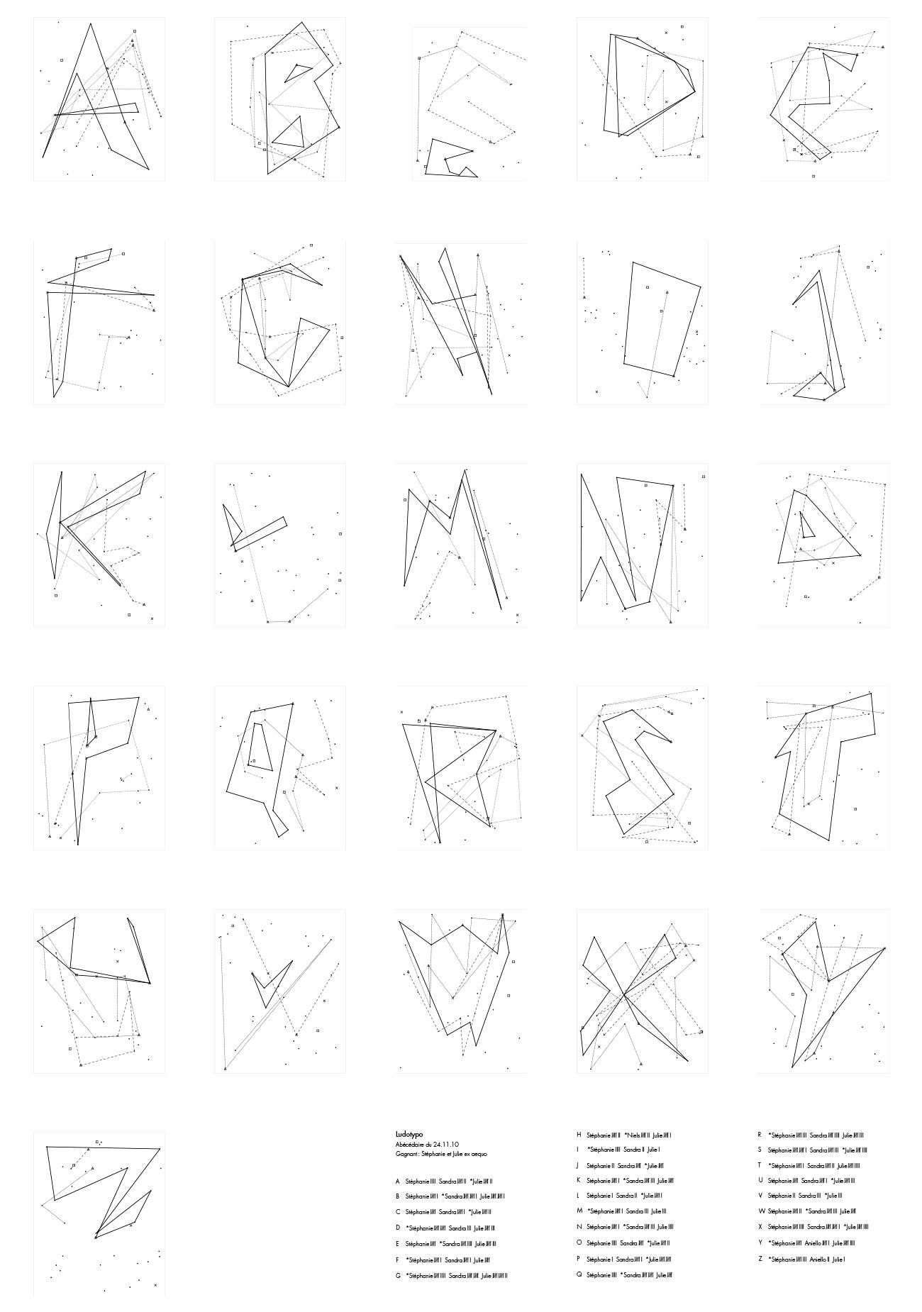 Spécimen typographique crée par les étudiant·e·s lors d'un workshop que j'ai animé à la HEAD (je ne me souviens pas des noms des étudiant·e·s – écrivez-moi pour être crédités). Jeu au dé sur une grille aléatoire au cours duquel les participant·e·s doivent compléter les lettres en premier.