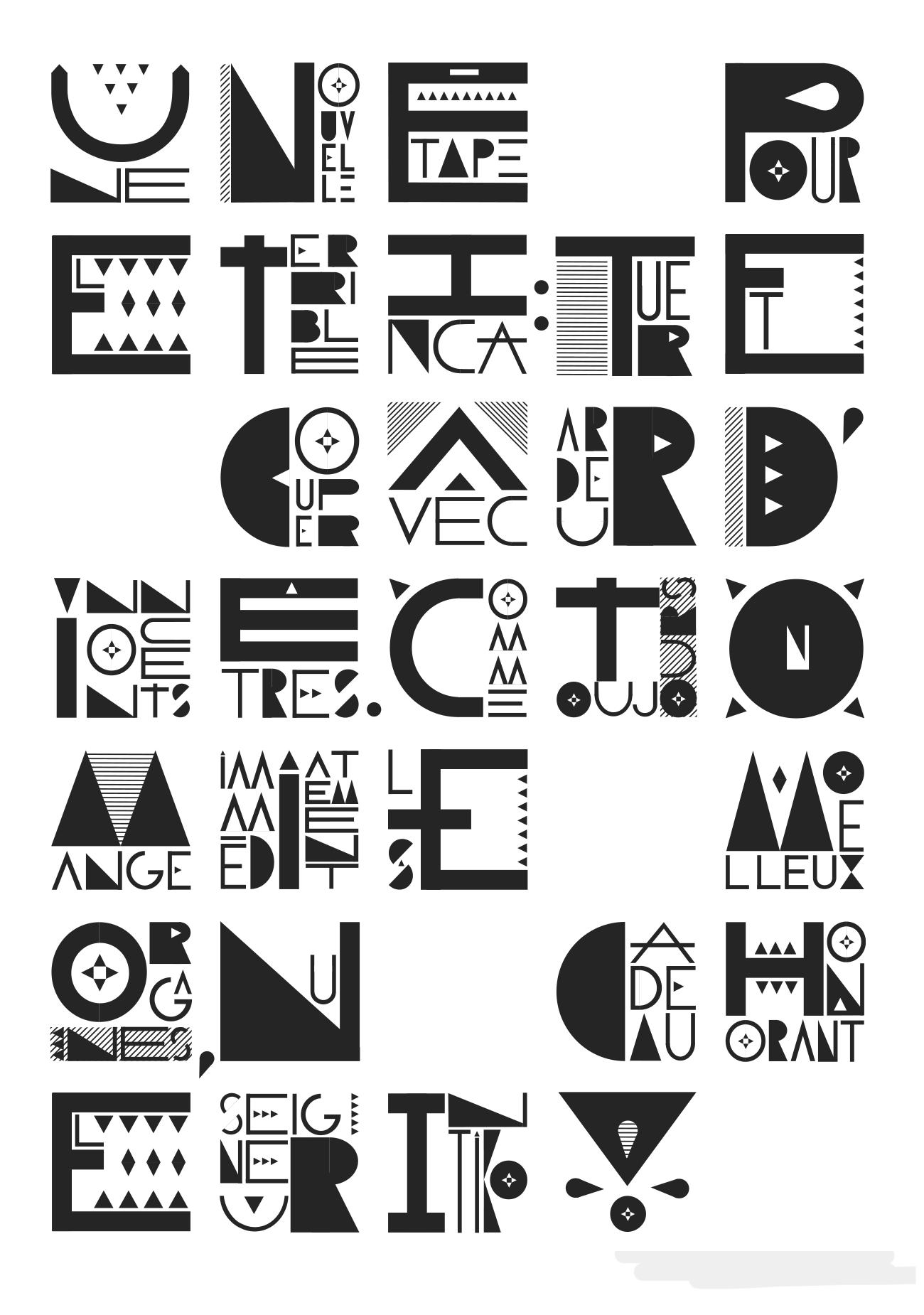 Spécimen typographique crée par les étudiant·e·s lors d'un workshop que j'ai animé à la HEAD (je ne me souviens pas des noms des étudiant·e·s – écrivez-moi pour être crédités). Caractères qui contiennent des mots, pour une double lecture
