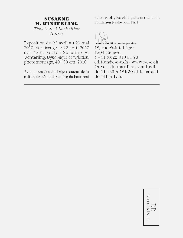 Carton d'invitation pour une exposition de Susanne M Winterling au Centre d'édition contemporaine, Genève.