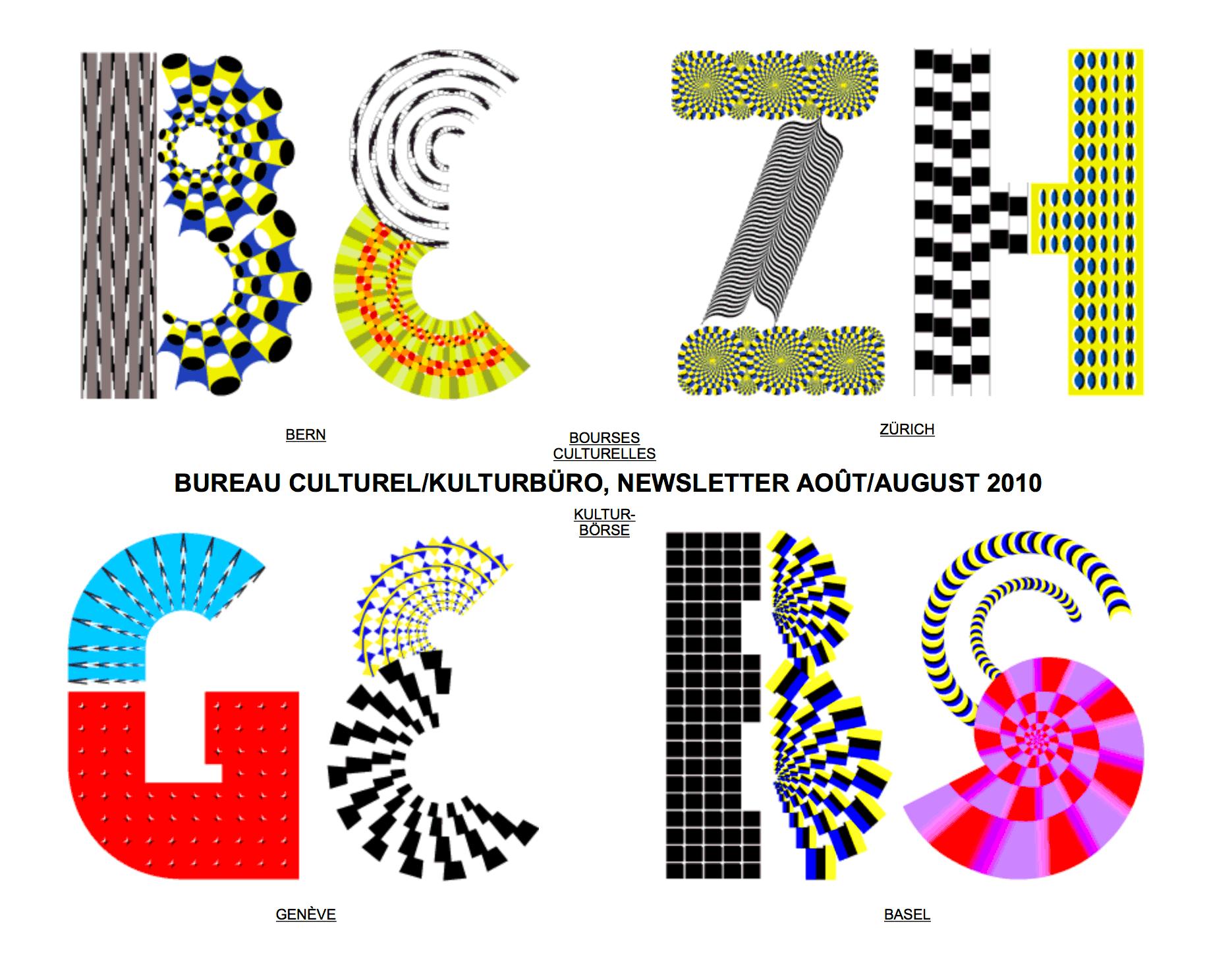 Le Bureau culturel mandatait chaque mois un studio de graphisme pour réaliser leur homepage/newsletter. En collaboration avec Boris Meister. En tant que Schönherwehrs