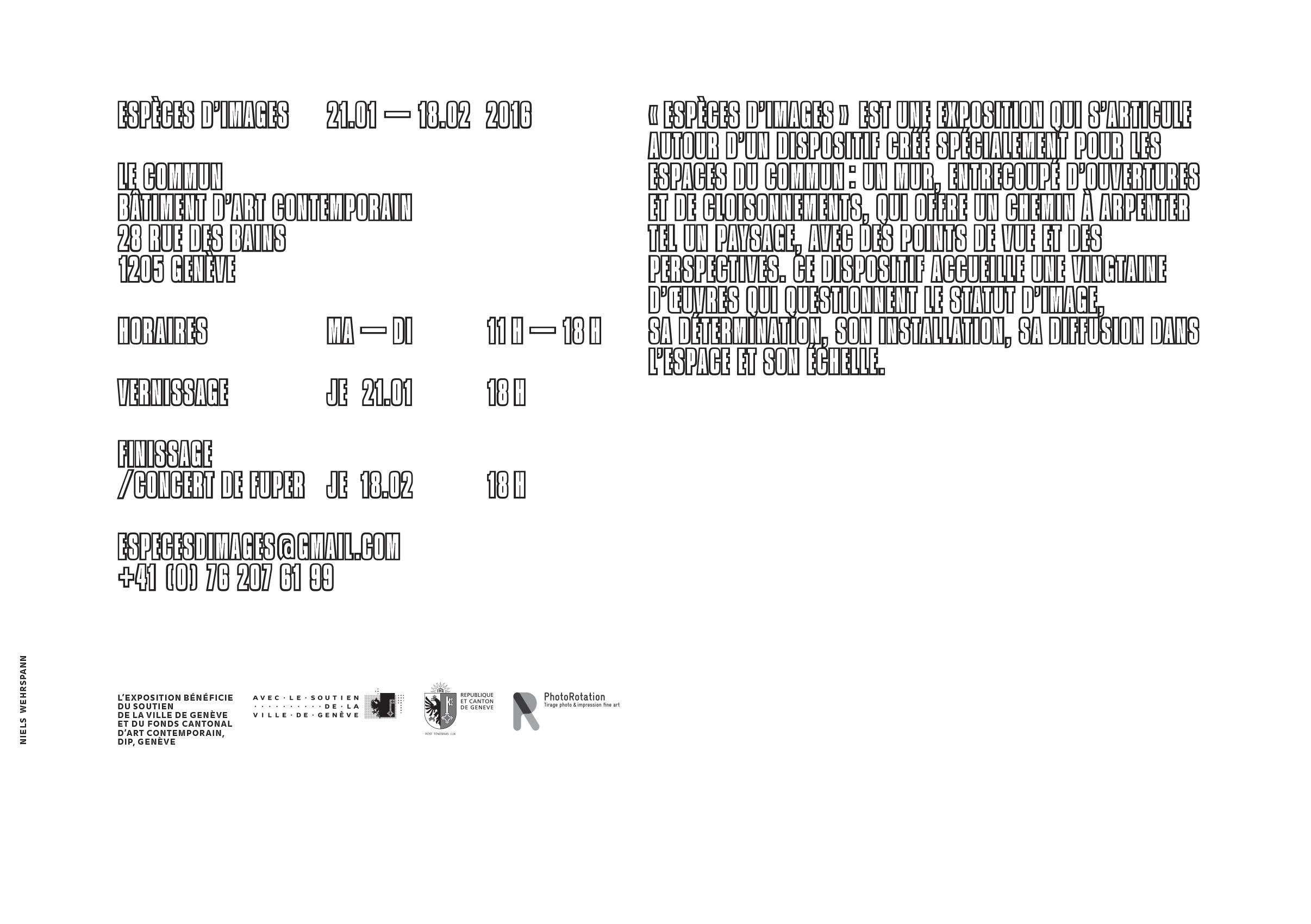 Carton d'invitation pour l'exposition Espèces d'Images (verso)