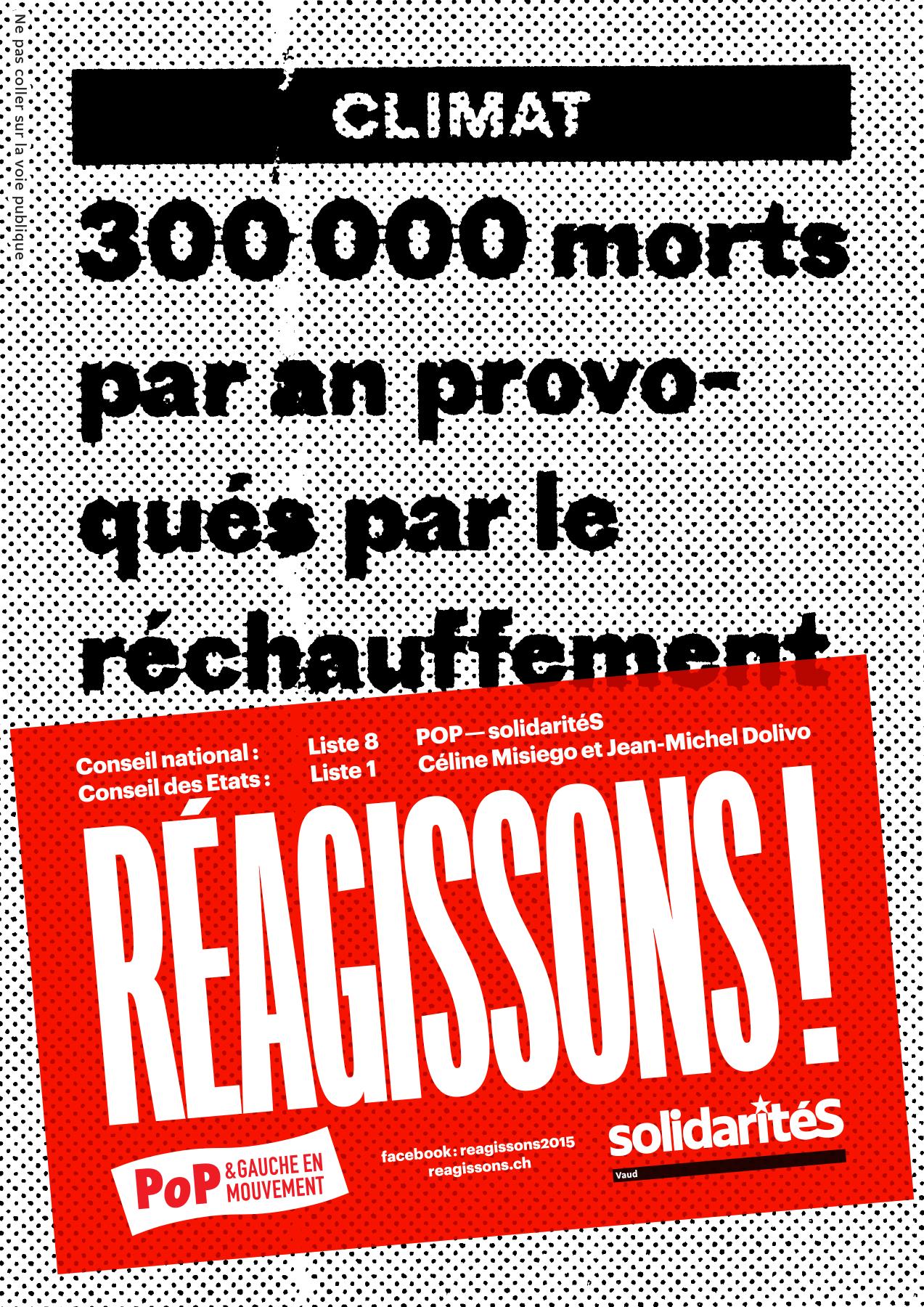 Autocollant de la campagne électorale POP–solidaritéS Vaud pour les élections fédérales 2015