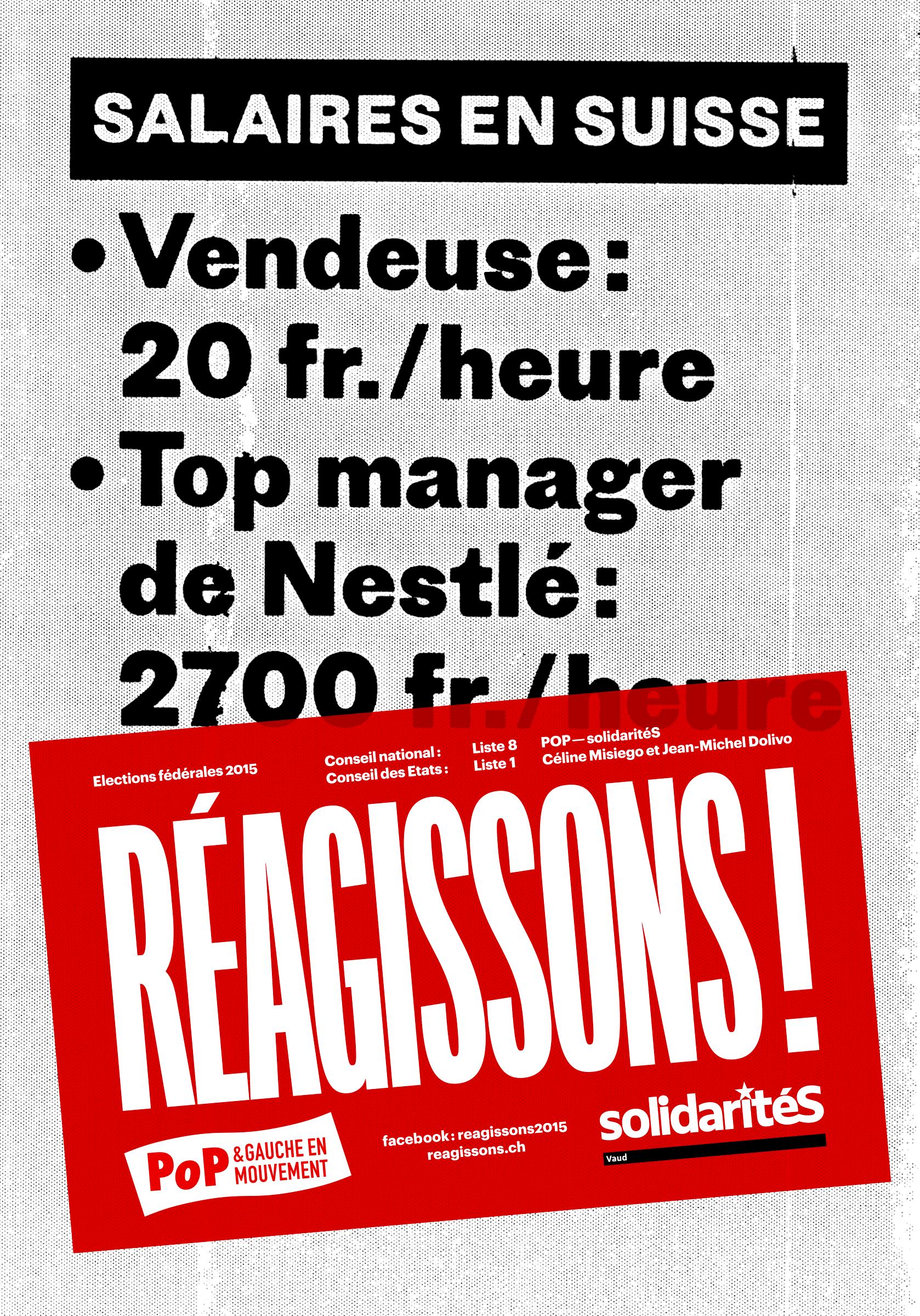 Affiche de la campagne électorale POP–solidaritéS Vaud pour les élections fédérales 2015