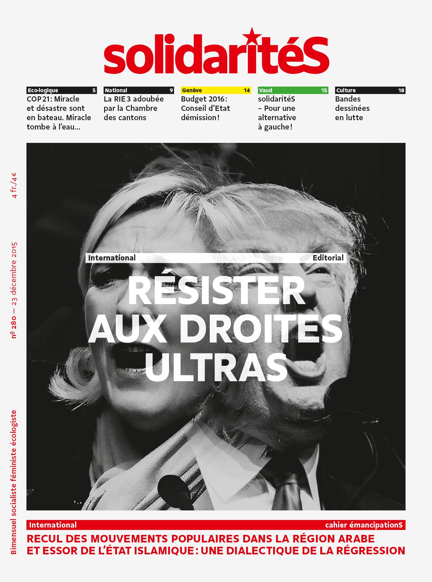 Couverture du numéro 280 du bimensuel solidaritéS: Trump et Marine Le Pen