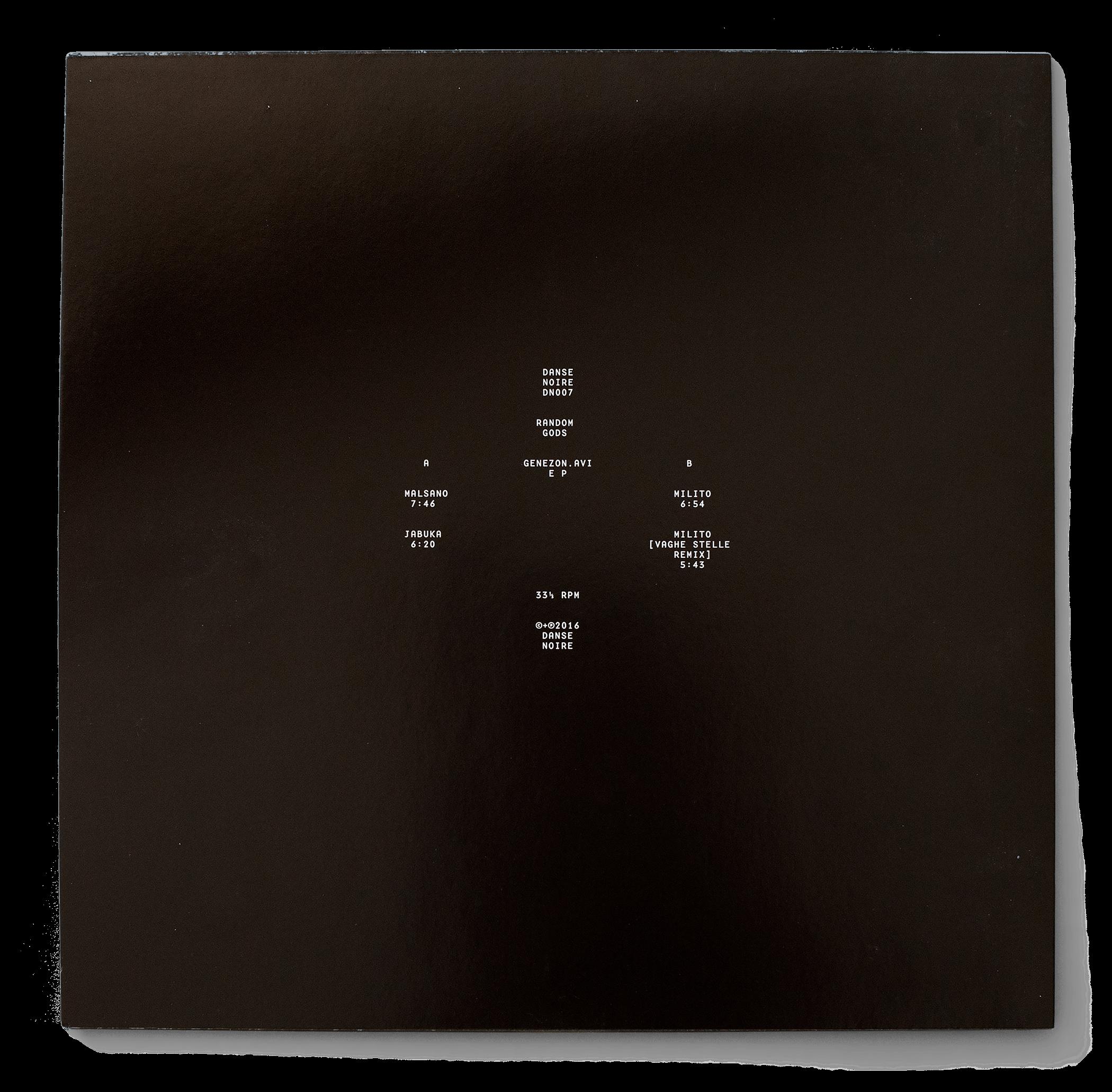 Dos de la pochette du EP «Genezon.avi» de Random Gods sur Danse Noire