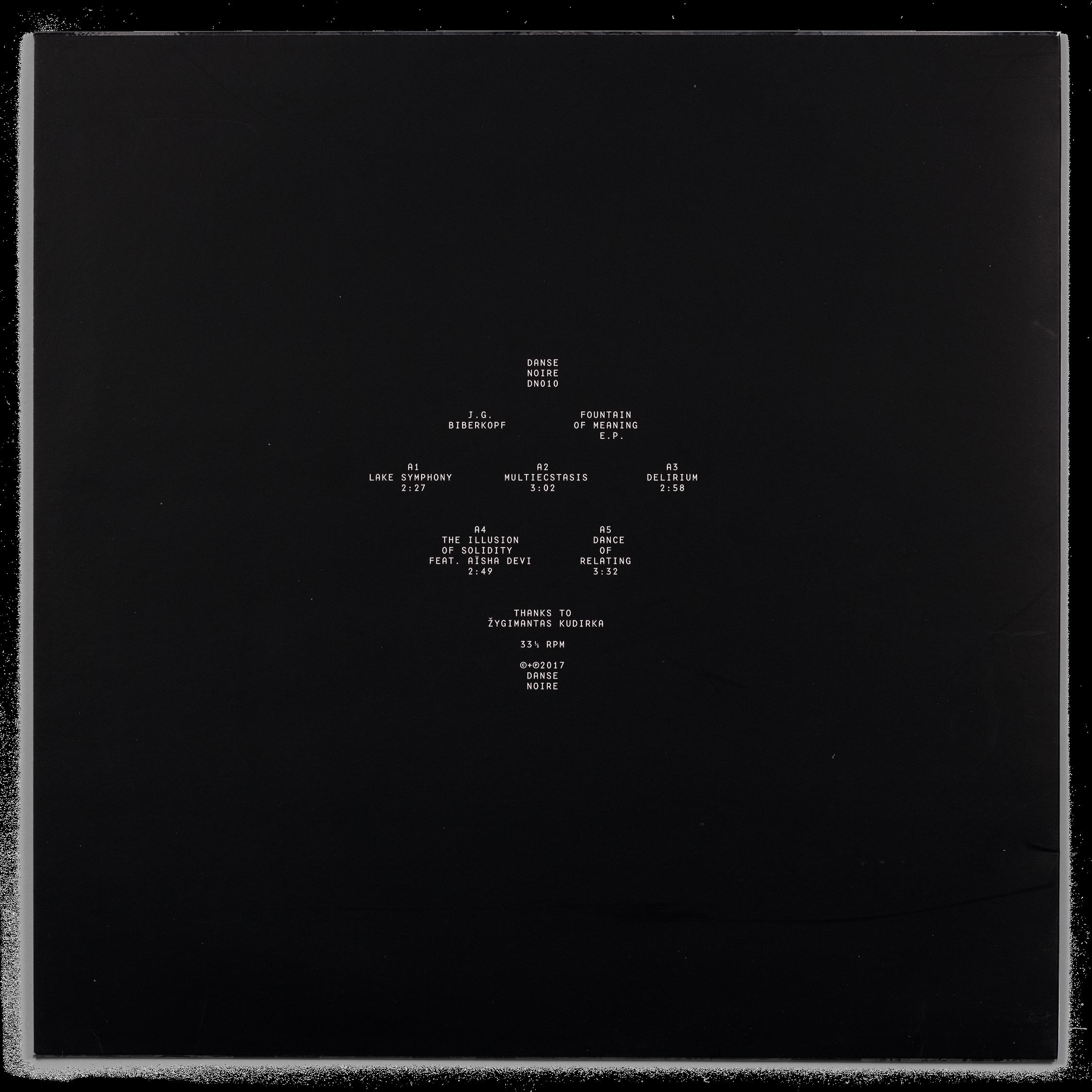 Dos de la pochette du EP Fountain of Meaning de JG Biberkopf, Danse Noire