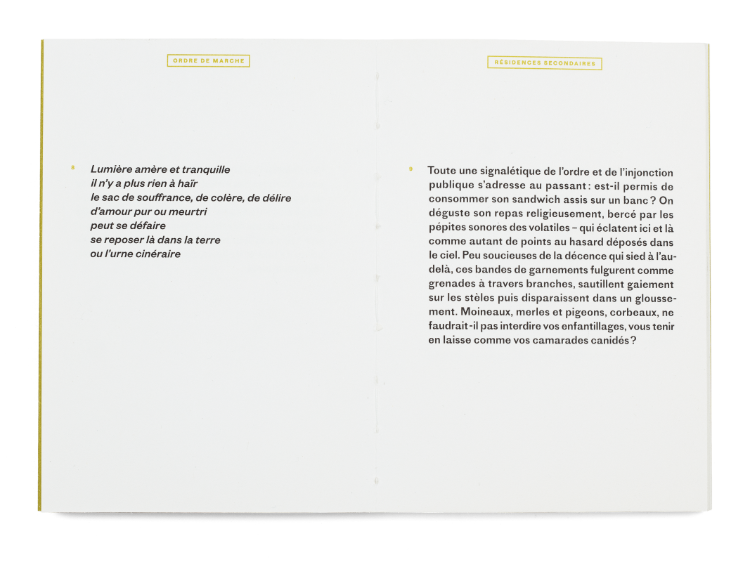 Double page du livre «Ordre de marche» d'Eric Duvoisin, Samizdat